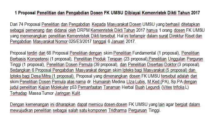 1 Proposal Penelitian dan Pengabdian Dosen FK UMSU Dibiayai Kemenristek Dikti Tahun 2017