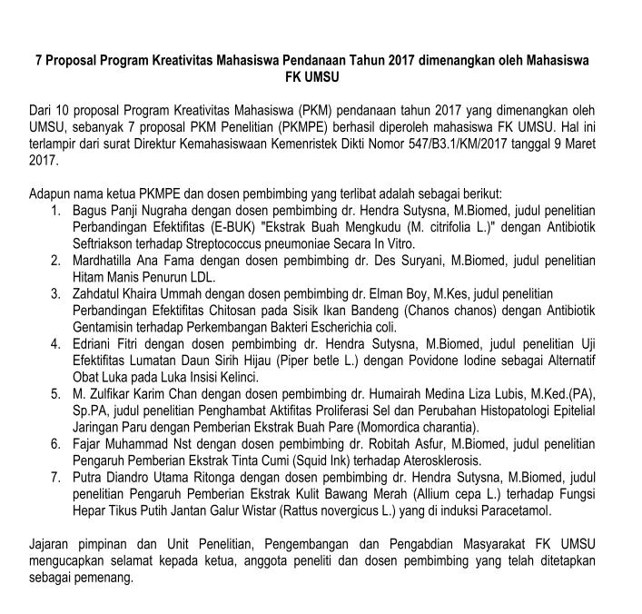 7 Proposal Program Kreativitas Mahasiswa Pendanaan Tahun 2017 dimenangkan oleh Mahasiswa FK UMSU